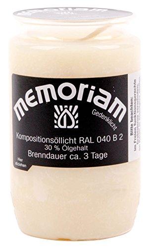 Memoriam Kompo Öllicht Nr. 33 - rot, weiß oder blau - 3 Tage Brenndauer - 20 Stück (weiß)