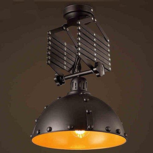 Qiangzi Deckenleuchten Kreative versenkbare retro schwarz Schmiedeeisen Deckenleuchte Dining Rooms Cafe Deckenleuchte [Effizienzklasse : A +] Deckenstrahler (Schmiedeeisen Deckenleuchten)