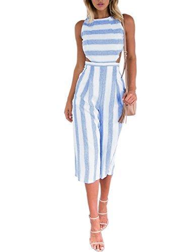 Wide Leg Hohe Taille Hose (Boutiquefeel Damen Stripe Hohe Taille Wide Leg lange Hose Jumpsuits Rompers Weiß M)
