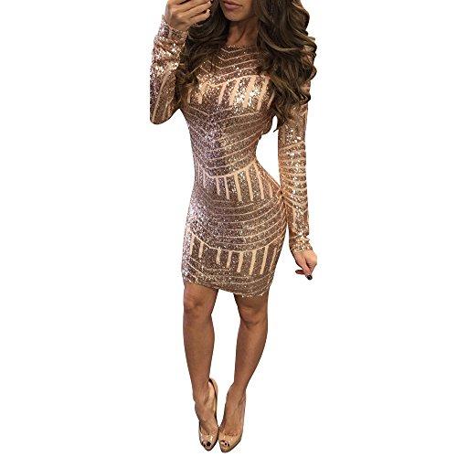 Damen Paillettenkleid FORH Damenmode Sexy V-Ausschnitt Langarm MiniKleid Funkelnde Sequined Club Partykleid Bodycon Bleistift Cocktailkleid Backpack Hip Dress (Gold, S)
