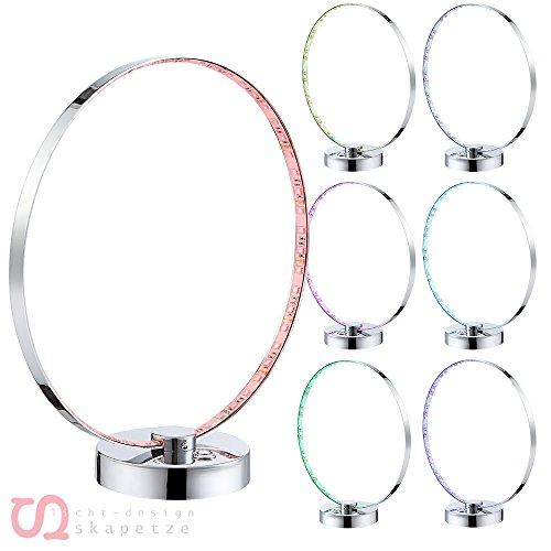 RGB LED 12 Watt Chrom Tisch Lampe Arbeitszimmer Farbwechsel Leuchte Stufenschalter Globo 28001 -