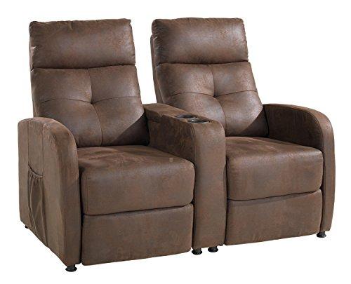 Fernsehsessel-Set Cinema-Sessel Doppelsessel INGO | Braun | Stoff | Liegefunktion | Getränkehalter