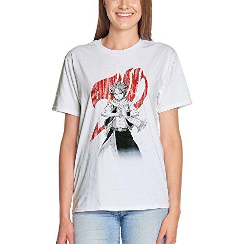 Fairy Tail Herren T-Shirt Salamander Natsu Dragneel Baumwolle weiß Weiß