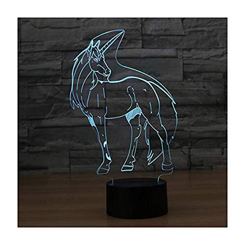 Luce di notte della lampada di illusione del led 3d / comodini di notte del comodino ottico di Wangzj/bambini illuminanti Lampada / 7 Cambiamento lampade da tavolo /unicorno