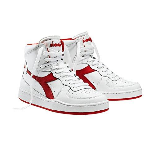 Diadora Mi Basket - Sneaker alte Unisex adulto Bianco / Rosso Ferrari Italia