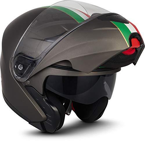"MOTO Helmets® F19 ""Venice Titan"" · Motorrad-Helm · Klapp-Helm Modular-Helm Flip-up Integral-Helm Motorrad-Helm Roller-Helm Full-Face Cruiser MTB · ECE Sonnenvisier Schnellverschluss Tasche M (57-58cm)"