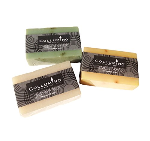 Selection Pack of Collumino Luxury Scented Herbal Spa Soaps with Pure Essential Oils 3 x 100g - Jasmine Rice - Lemongrass - Green Seaweed