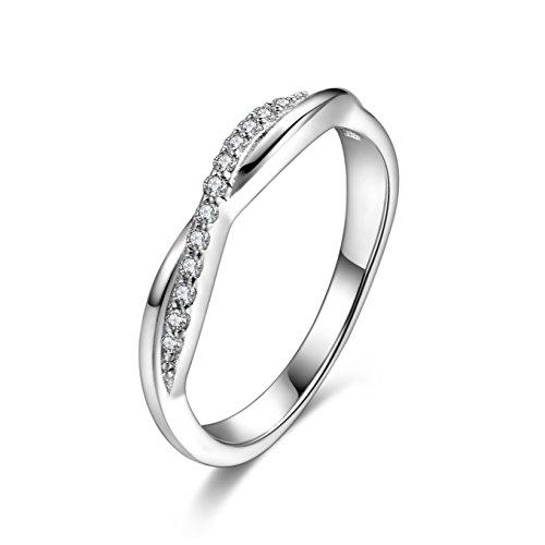 925 Sterling Silber funkelnden Zirkonia Kreuz Infinity Ring Ehering Band Ringgröße 57 (18.1) - Frau Diamond Wedding Ring