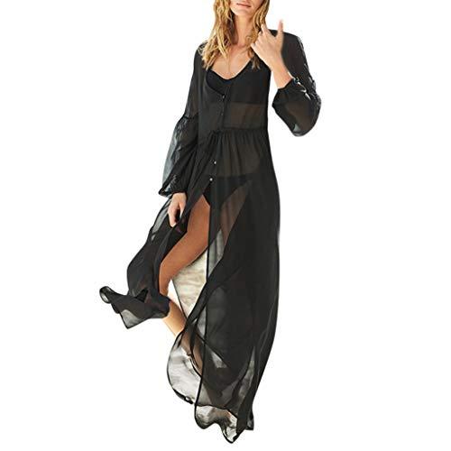 Komise Frauen-Damen-Art- Und Weiseknopf-Langes HüLsen-V Ansatz-Strand-Kleid(Schwarz) -