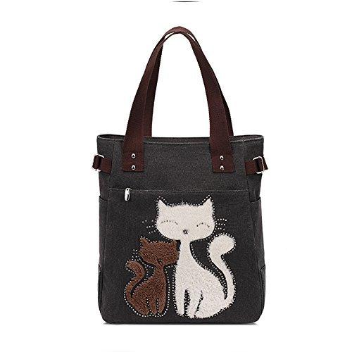 Vintage Reisetasche Handtaschen Schultertasche KAUKKO Shopper Taschen Umhängetasche Damen Handbag Schwarz