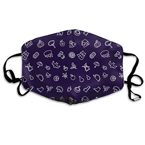 Unisex Anti-Staub-Mundmaske, Herbstsaison, Dunkelblau/Weiß, niedlich, wiederverwendbar, für Kinder, Teenager, Männer und Frauen