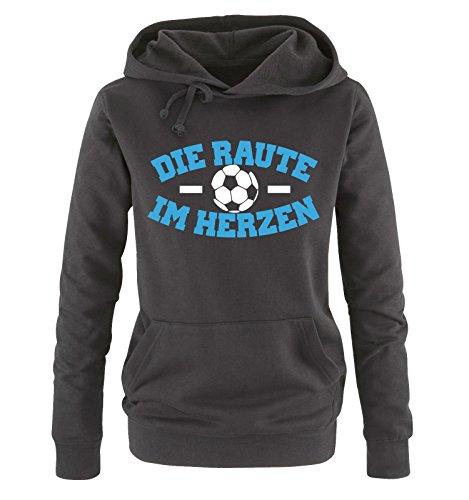 Comedy Shirts - Hamburg - DIE Raute - IM Herzen - Damen Hoodie - Schwarz/Weiss-Blau Gr. XL