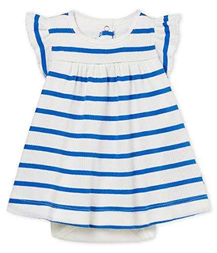 Petit Bateau Baby - Mädchen Kleid Robe Body MC_4619701, Mehrfarbig (Marshmallow/Cool 01), 68 (Herstellergröße: 6M/67cm)