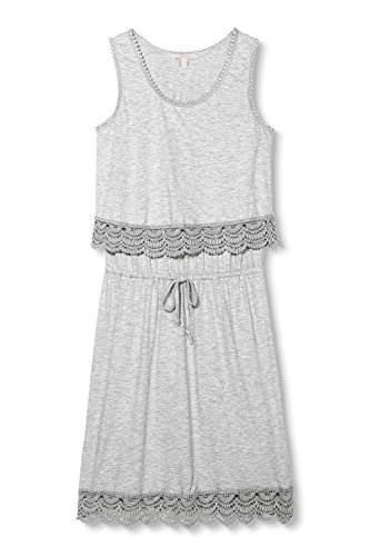 ESPRIT 066EE1E015 - Crochet Broder - Robe - Femme Gris - Grau (LIGHT GREY 5 044)