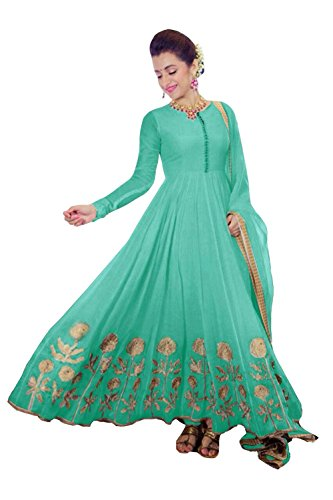 Clickedia Women's Faux Georgette Pista Green Anarkali Salwar Suit Dress Material  available at amazon for Rs.699