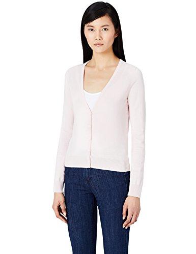 Baumwoll-strickjacke (MERAKI Baumwoll-Strickjacke Damen mit V-Ausschnitt, Rosa (Pale Pink), 34 (Herstellergröße: X-Small))