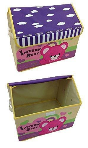 GMMH Design Spielzeugbox mit Stickerei Haus Bär 42 cm x 31 cm x 34 cm Aufbewahrungsbox Spielzeugkiste Aufbewahrungstonne Kindermöbel (Stickerei-design-bücher)