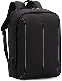 XQXA Mochila Portátil Impermeable Backpack para Ordenador hasta 17 Pulgadas con Puerto de Carga Externa USB para Negocio,Viajar - 25L Negro
