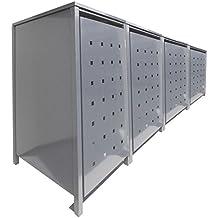 BBT@ | Hochwertige Mülltonnenbox für 4 Tonnen je 240 Liter mit Klappdeckel in Silber (RAL 9006) / Stanzung 2 / Aus stabilem pulver-beschichtetem Metall / Verschiedene Farben + Blech-Stanzungen erhältlich / Mülltonnenverkleidung Müllboxen Müllcontainer