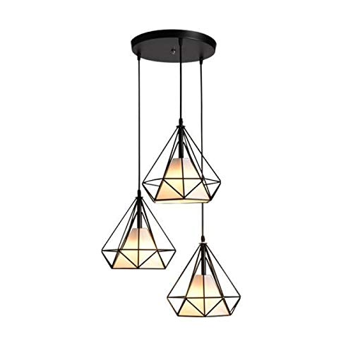 Lampada a sospensione industrial hanging cage shape ceiling light chandelier diamond contemporary 25cm 110-221v - sala da pranzo con illuminazione a corda regolabile bar