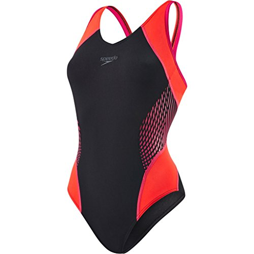 speedo-womens-fit-splice-muscleback-swimsuit-black-electric-pink-lava-red-size-36