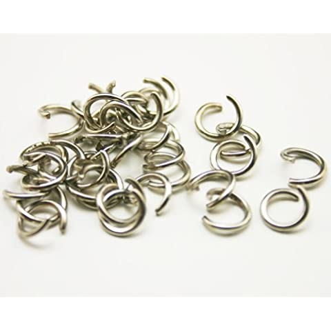 Metal plateado Chuzhao Wu 0,51 cm de salto anillo colgante anillo partido twistfix redondo (300 unidades)