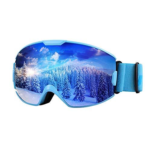 KUYOU Premium Skibrille, Snowboardbrille Schneebrille OTG 100% UV-Schutz mit Rahmen Anti-Nebel, helmkompatible Ski Goggles für Damen und Herren/Jungen und Mädchen (Erwachsene, Blau VLT18%)