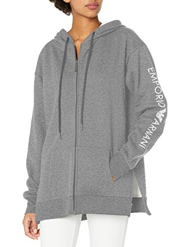 Emporio Armani Damen Stretch Cotton Full Zip Jacket Kapuzenpulli, Dark Gray Melange, X-Groß
