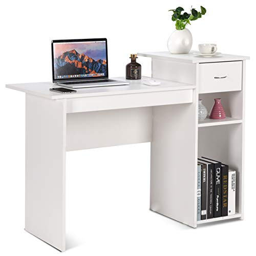 COSTWAY Schreibtisch Holz, Computertisch weiß, Computerschreibtisch Arbeitstisch Bürotisch PC-Tisch, für Hause oder Büro, 108 x 82 x 50cm