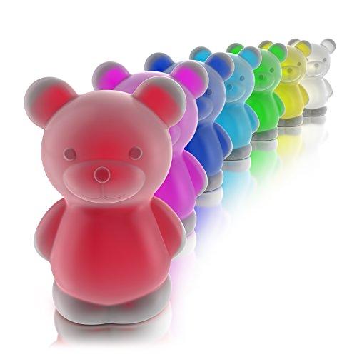 MyBeo - LED bunt leuchtendes Teddy Nachtlicht | Stimmungslicht und Orientierungslicht Schlummerlampe | Kinder Schlaflicht | LED-Nachtlampe | 4 Lichtmodi | rot grün blau oder RGB Farbwechsel | BPA Frei