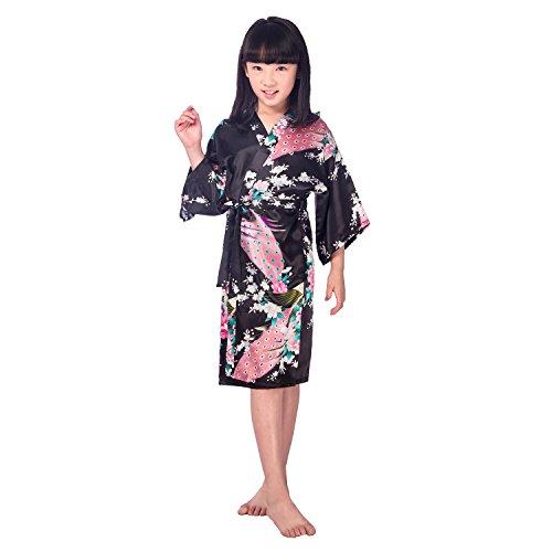 Honeystore Kinder Mädchen Morgenmantel Bademantel Nachtwäsche Kimono Robe Schwarz 12# (Mit Seiden-camisole Perlen)