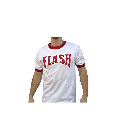 Flash Gordon weiß Ringer Erwachsene T-Shirt Film Kostüm Lightning Bolt Ted 80s Gr. XL, weiß