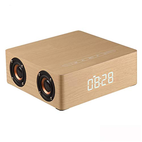 PIANAI PA® Wood Grain Bluetooth Speaker Bluetooth 4.2 Super Bass Subwoofer Hands-frei mit Mic 3.5mm AUX-IN TF Karte Slot 3000mAh,Yellow