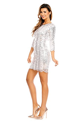 Paillettenkleid rückenfrei Cocktailkleid Abendkleid mit Pailletten bestickt rückenfrei silber M - 3