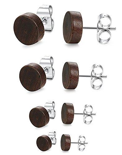 BESTEEL 4 Paare Edelstahl Holz Ohrstecker für Herren Damen Mädchen Ohrringe Ohrstecker Ear Piercing 6-12MM