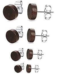 BestEEL 4 Pairs Stainless Steel Wood Stud Earrings for Men Women Girls Ear Piercing 6 - 12 mm