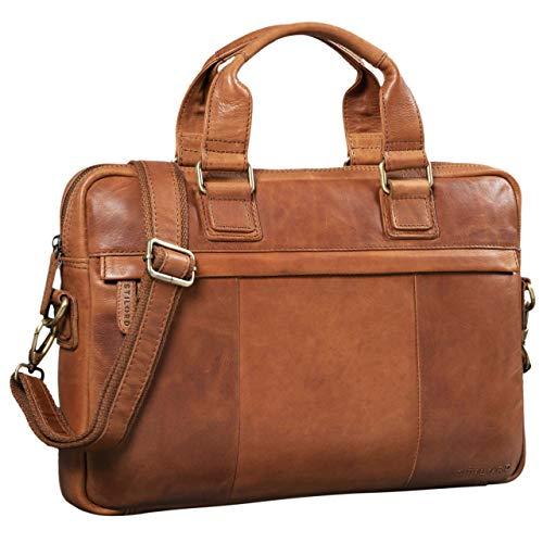 STILORD 'Andrew' Vintage Business Ledertasche Klassische Aktentasche für Herren und Damen 13,3 Zoll Laptoptasche für Arbeit Büro Aufsteckbar, Farbe:girona - braun -