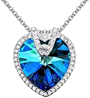 Swarovski Elements 18K White Gold Plated Necklace Encrusted with Blue Swarovski Crystals SWR-269