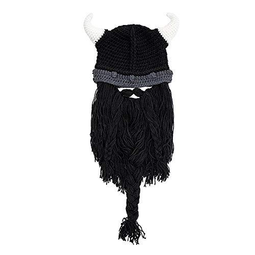 Kostüm Black Beard Piraten - Yzibei Hut große Bartmaske lustig Stricken Handgemachte Strickmütze Unisex Lustiger Hut Weiche Viking Bart Schnurrbart Hörner Hut für Kostüm Cosplay Party Kostüme Zubehör (Farbe : Black Beard)