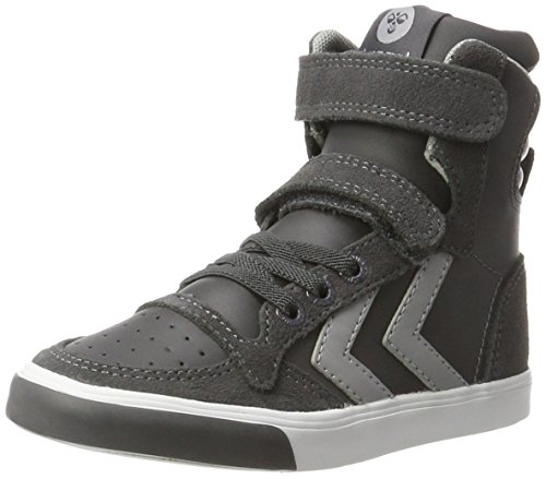 hummel Unisex-Kinder Slimmer Stadil HIGH JR Hohe Sneaker, Grau (Asphalt), 28 EU