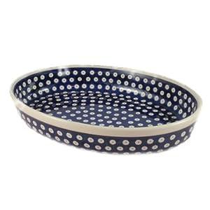 Polish Pottery Boleslawiec Oven Dish, Oval, Large, 22cm x 31cm in TADPOLE pattern