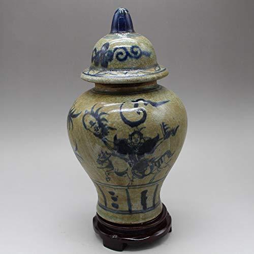 Fashion158 JingdeZhen Porzellan-Tank Antiquitäten-Sammlerstücke handbemalt Blau und Weiß Risse Generals Tank Vorratsbehälter Keramik -