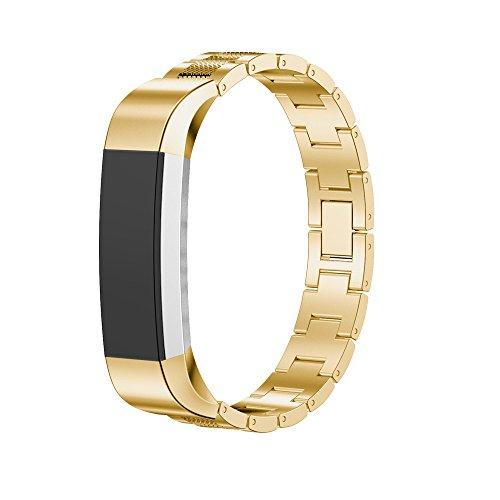 12,5mm Armband, happytop Edelstahl Armband Handgelenk Gurt Uhren Ersatz für Fitbit Alta HR Smart Watch S gold