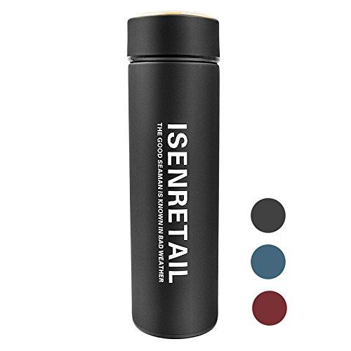 Tazze da viaggio, Isenretail bottiglia per caffè/tè/latte/acqua da asporto Portatile in acciaio inossidabile isolata termica per scuola, all'aperto, ufficio 480ML