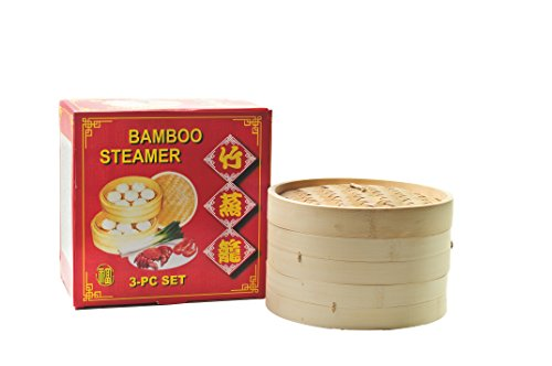 Bambusdämpfer 25cm 3-teilig Bambus Dämpfer Steamer Bamboo Steamer Set