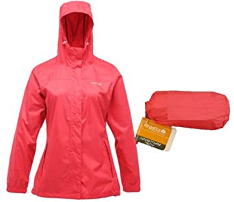 LADIES REGATTA LIGHTWEIGHT BREATHABLE WATERPROOF JACKET IN A BAG SIZES 10-26 (10, BRIGHTBLUSH)