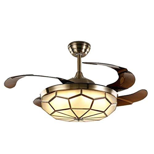 LAZ Unsichtbare Deckenventilator Licht Traditionelle mittelalterliche LED Lüfter Kronleuchter Öl eingerieben Bronze-Finish mit Fernbedienung für Wohnzimmer Schlafzimmer Restaurant Arbeitszimmer