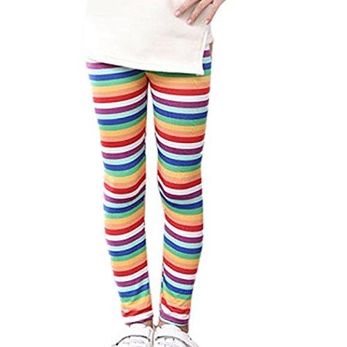 FNKDOR Baby Mädchen Leggings, Kinder Bunt Blume Hosen Silm Fit Leggins (Länge: 65cm; Höhe: 111-120cm, Rosa)
