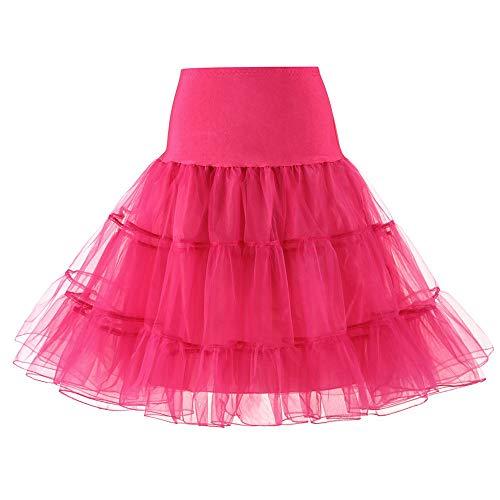 WOZOW Damenrock Tutu Einfarbig Minirock Tunika Unterrock Frauen Karneval Halloween Kostüm Party Petticoat Prinzessin Kleider (XL =EU:40-54,heißes Rosa)