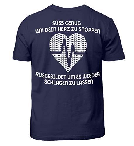 Krankenschwester Shirt · Geschenk für Pflegekräfte · Spruch: Herz stoppen - Kinder T-Shirt -9/11 (134/146)-Dunkel-Blau